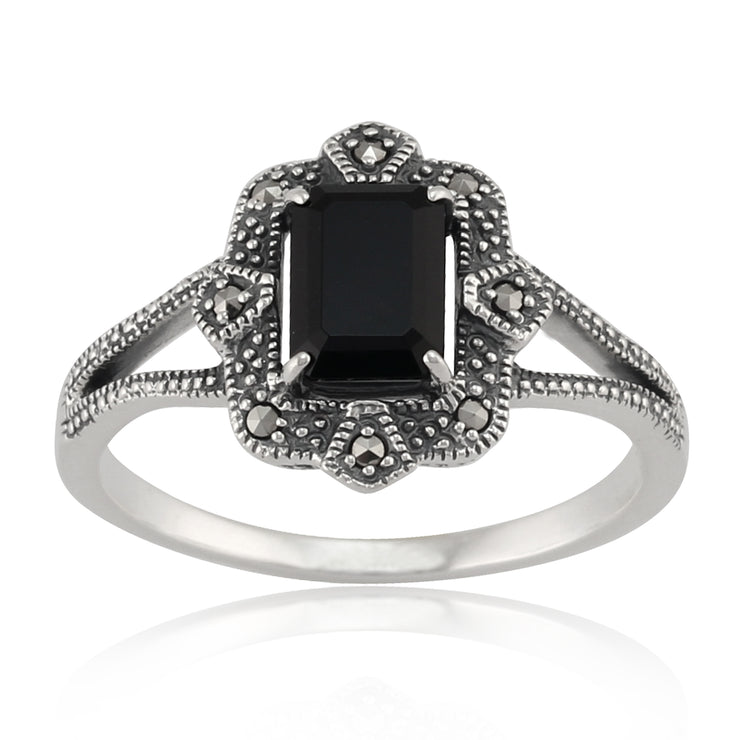 Art Deco Style Baguette Black Spinel & Marcasite Ring in 925 Sterling Silver