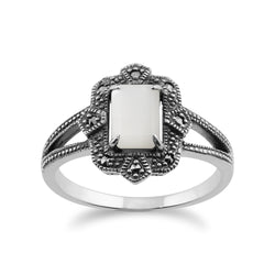 Art Deco Style Baguette Mother of Pearl & Marcasite Ring in 925 Sterling Silver