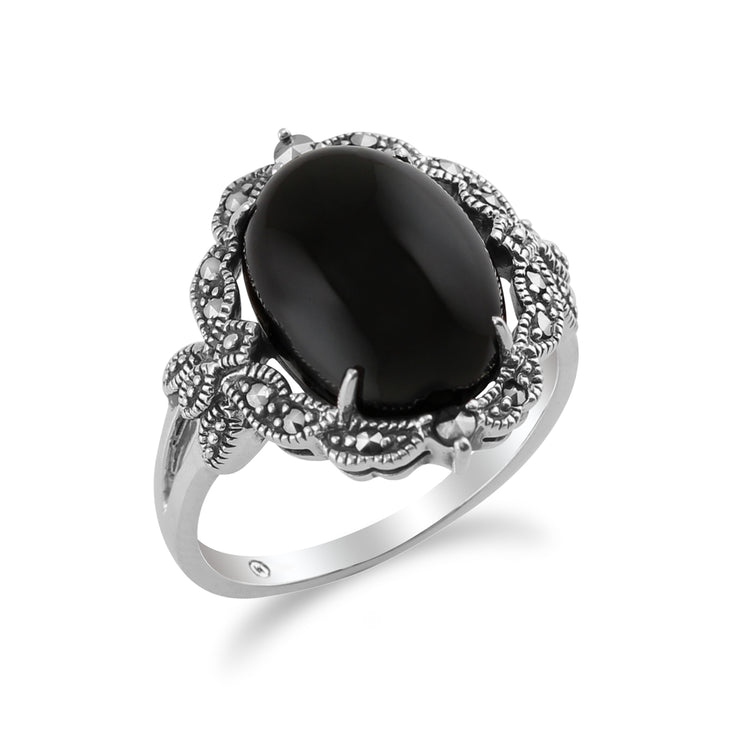 Art Nouveau Style Oval Black Onyx Cabochon & Marcasite Statement Ring in 925 Sterling Silver