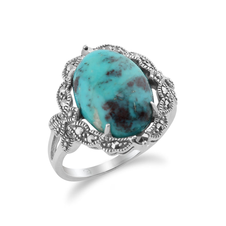 925 Sterling Silver Art Nouveau Turquoise & Marcasite Statement Ring  Image 2