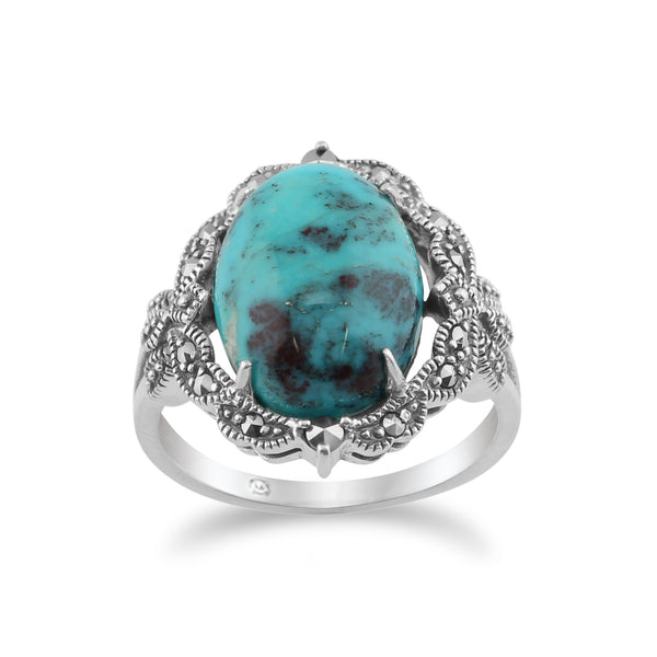 925 Sterling Silver Art Nouveau Turquoise & Marcasite Statement Ring  Image 1