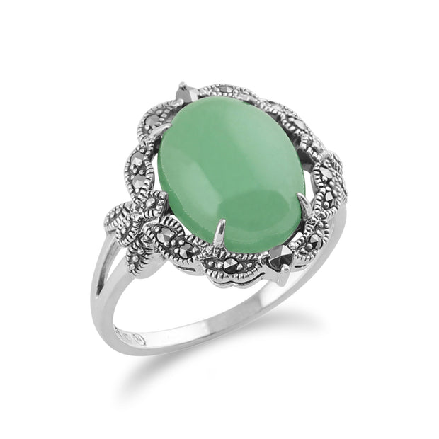 Art Nouveau Style Oval Green Jade Cabochon & Marcasite Statement Ring in 925 Sterling Silver