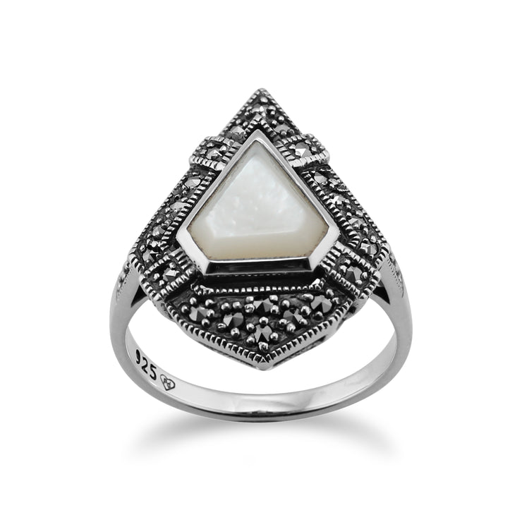 Art Deco Style Triangle Mother of Pearl & Marcasite Statement Ring in 925 Sterling Silver