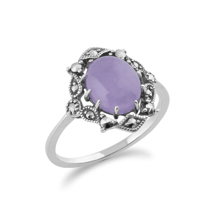 Art Nouveau Style Oval Lavender Jade Cabochon & Marcasite Statement Ring in 925 Sterling Silver