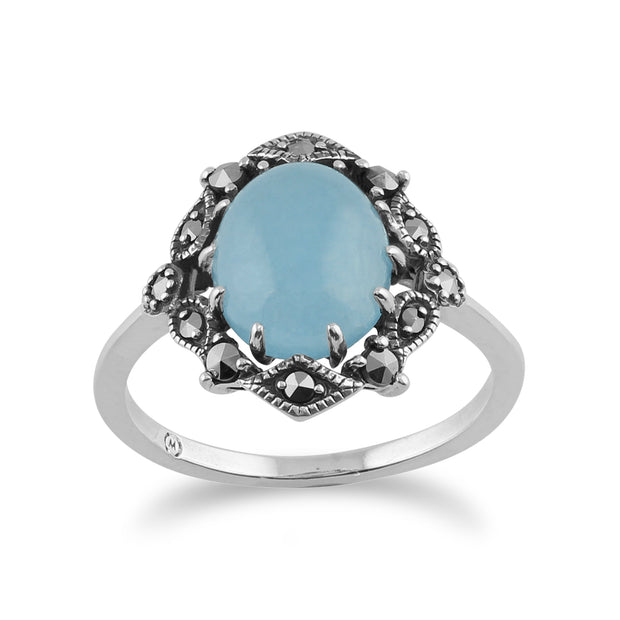 Art Nouveau Style Oval Blue Jade Cabochon & Marcasite Statement Ring in 925 Sterling Silver