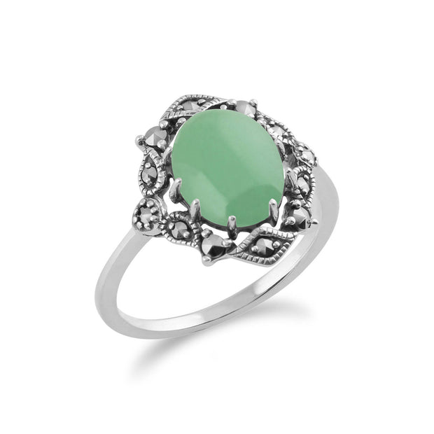 Art Nouveau Style Oval Green Jade Cabochon & Marcasite Statement Ring