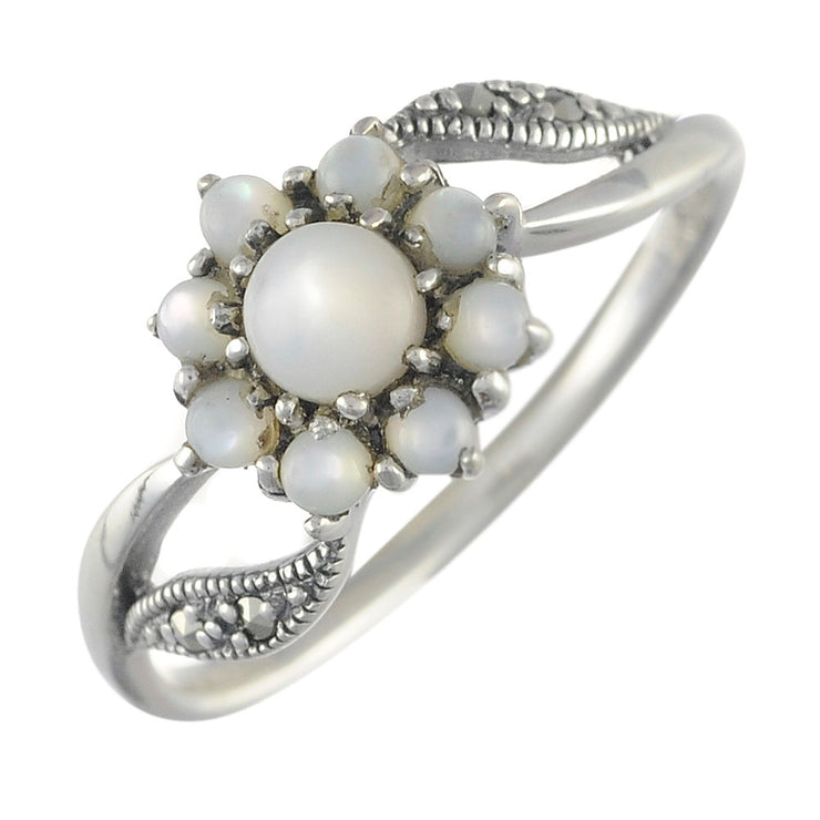 Floral Round Mother of Pearl & Marcasite Cluster Ring in 925 Sterling Silver