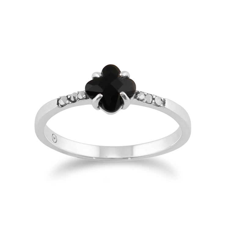 Floral Square Black Onyx & Marcasite Ring in 925 Sterling Silver