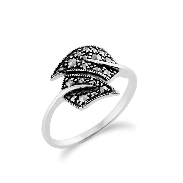 Art Nouveau Style Round Marcasite Leaf Wrap Ring in 925 Sterling Silver