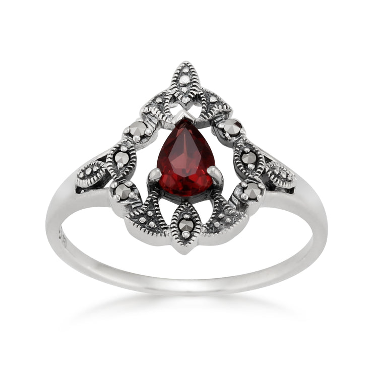 Victorian Style Pear Garnet & Marcasite  Statement Ring in 925 Sterling Silver