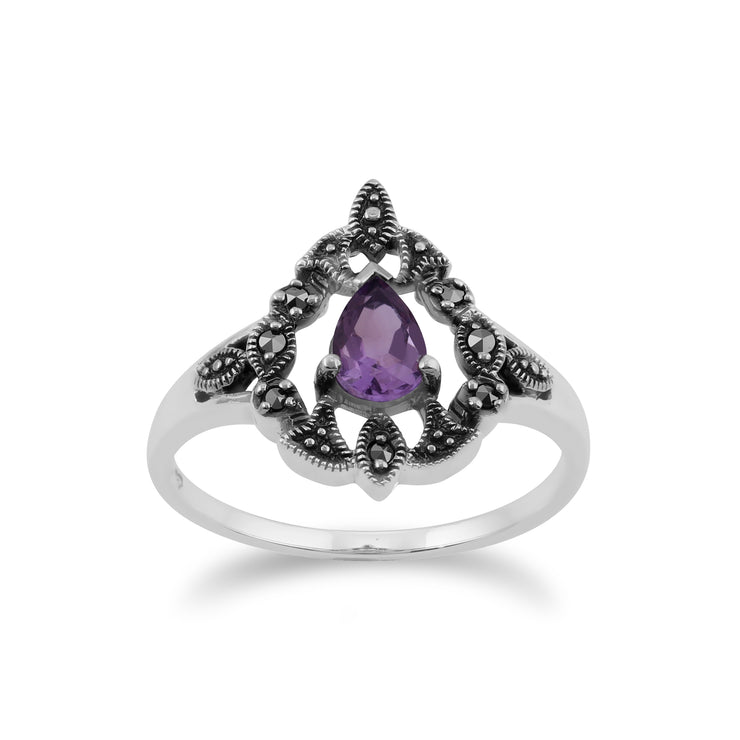 Art Nouveau Style Pear Amethyst & Marcasite Garland Pendant & Ring Set in 925 Sterling Silver
