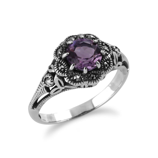 Art Nouveau Style Round Amethyst & Marcasite Floral Ring in Sterling Silver