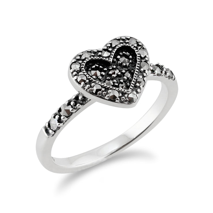 Art Deco Style Round Marcasite Love Heart Ring in 925 Sterling Silver