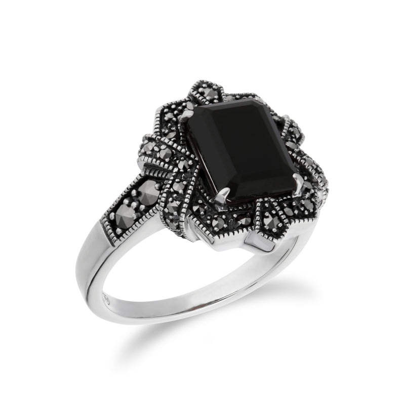 Art Deco Style Baguette Black Onyx & Marcasite Ring in 925 Sterling Silver