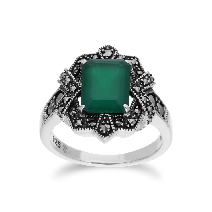 Art Deco Style Baguette Green Chalcedony & Marcasite Ring in 925 Sterling Silver