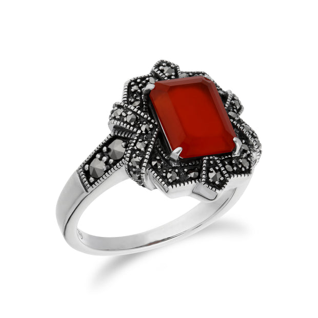 Art Deco Style Baguette Carnelian & Marcasite Ring in 925 Sterling Silver