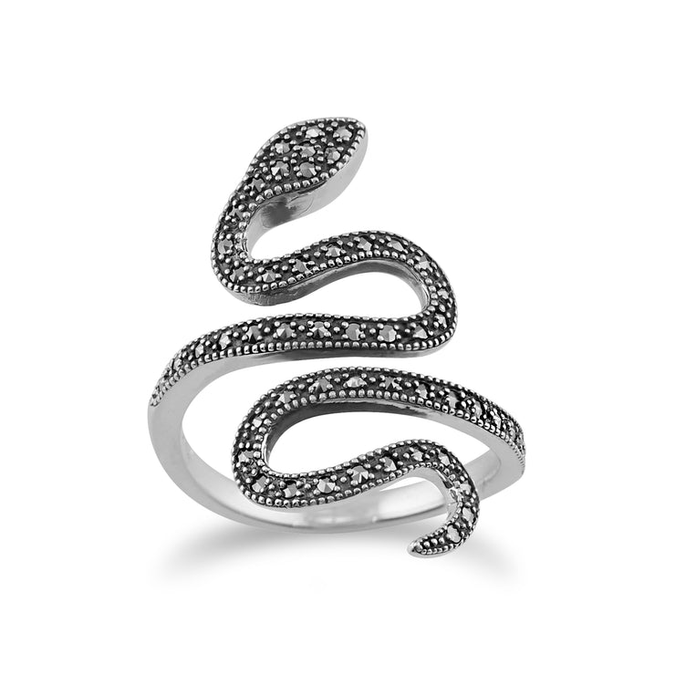 Art Nouveau Style Round Marcasite Silver Snake Boho Ring