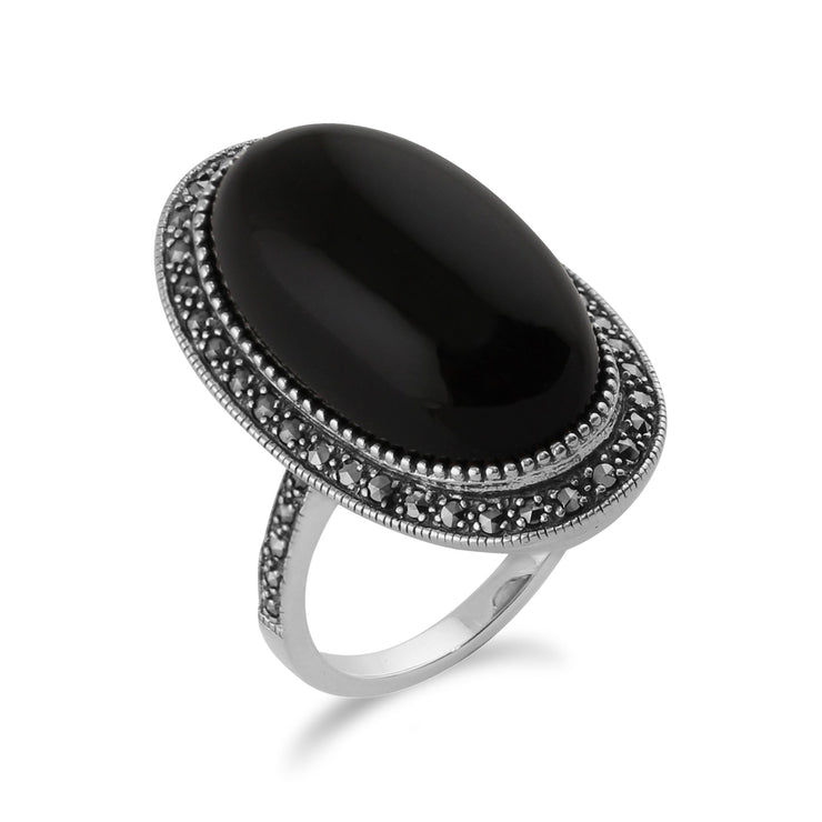 Art Deco Style Black Onyx Cabochon & Marcasite Cocktail Ring in 925 Sterling Silver