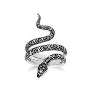 Art Nouveau Style Round Marcasite Snake Statement Ring in 925 Sterling Silver