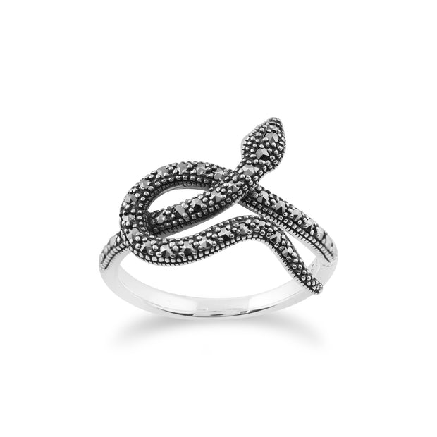 Art Nouveau Style Round Marcasite Snake Wrap Ring in 925 Sterling Silver
