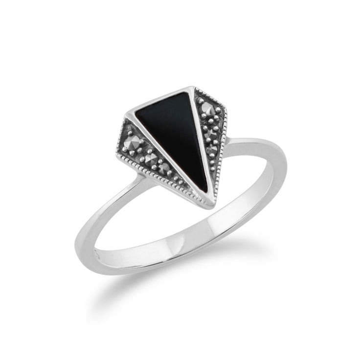 Art Deco Style Triangle Black Onyx & Marcasite Ring in 925 Sterling Silver