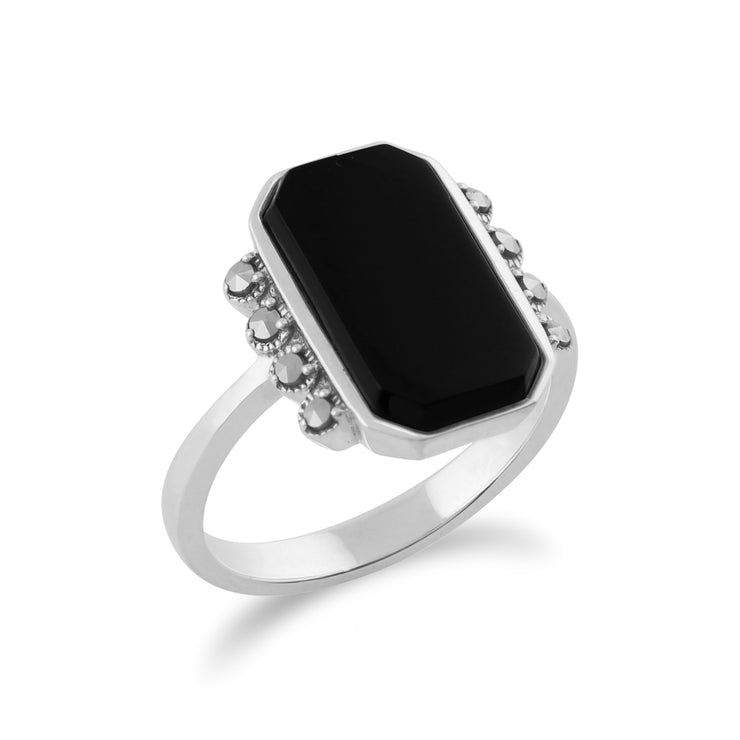 Gemondo 925 Sterling Silver 2.5ct Black Onyx & Marcasite Art Deco Ring Image 2