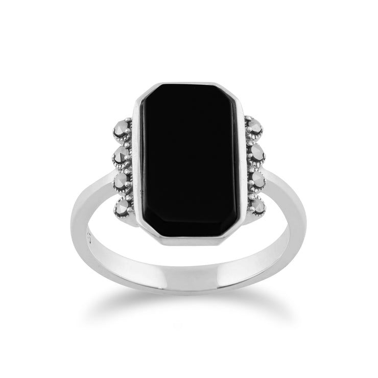 Gemondo 925 Sterling Silver 2.5ct Black Onyx & Marcasite Art Deco Ring Image 1