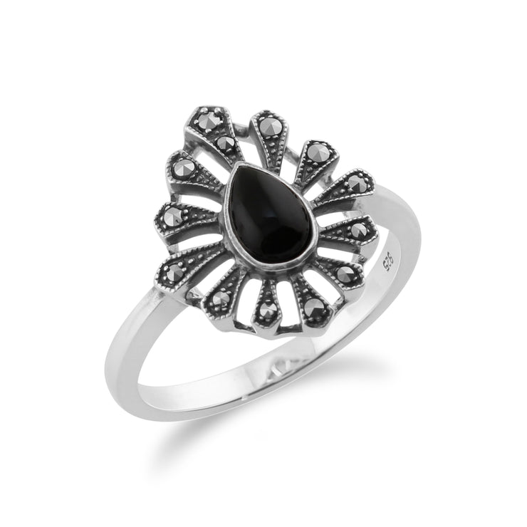 Gemondo 925 Sterling Silver 0.30ct Black Onyx & Marcasite Art Deco Ring Image 2