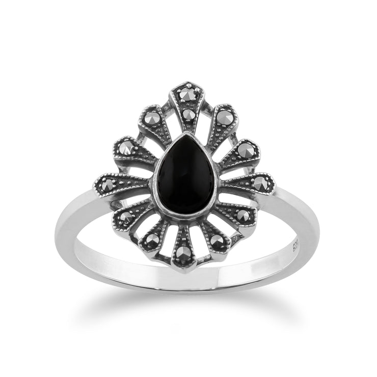 Gemondo 925 Sterling Silver 0.30ct Black Onyx & Marcasite Art Deco Ring Image 1