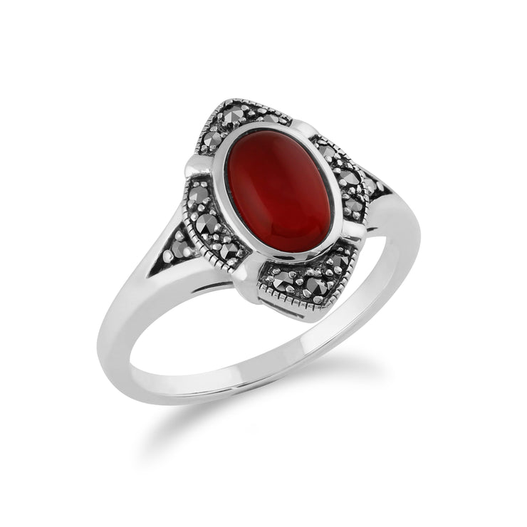 Gemondo 925 Sterling Silver 1.00ct Carnelian & Marcasite Art Deco Ring Image 2