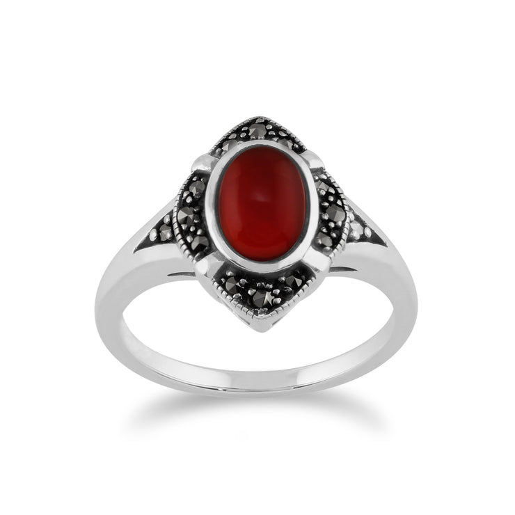 Gemondo 925 Sterling Silver 1.00ct Carnelian & Marcasite Art Deco Ring Image 1