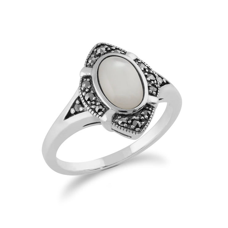 Gemondo 925 Sterling Silver 1.00ct Mother of Pearl & Marcasite Art Deco Ring Image 2