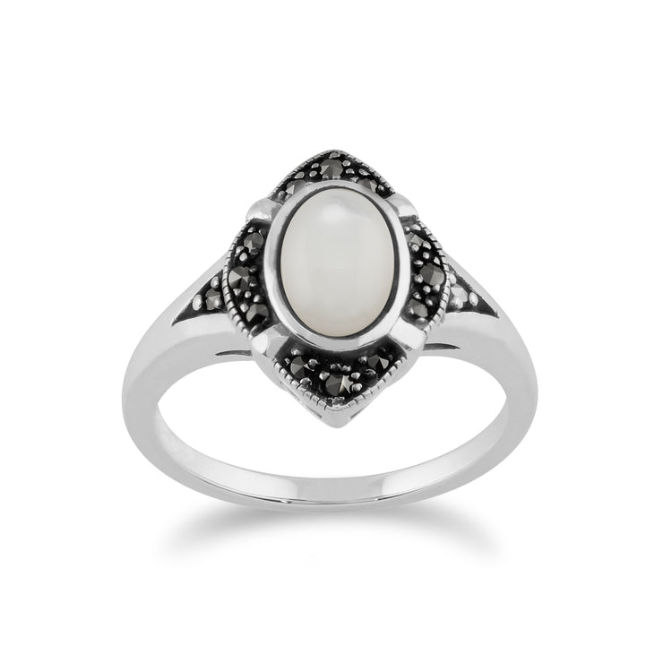 Gemondo 925 Sterling Silver 1.00ct Mother of Pearl & Marcasite Art Deco Ring Image 1