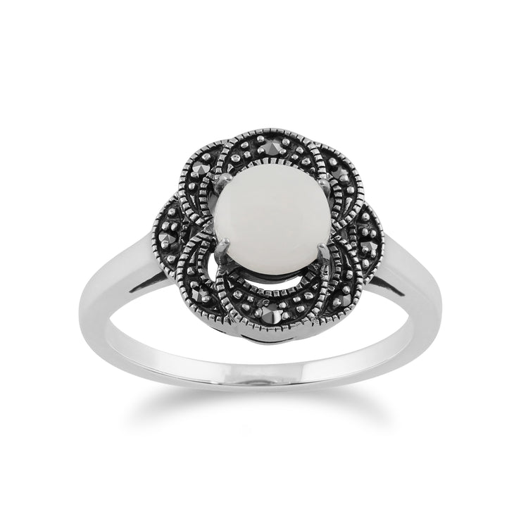 Gemondo 925 Sterling Silver 0.55ct Opal & Marcasite Floral Art Deco Ring Image 1