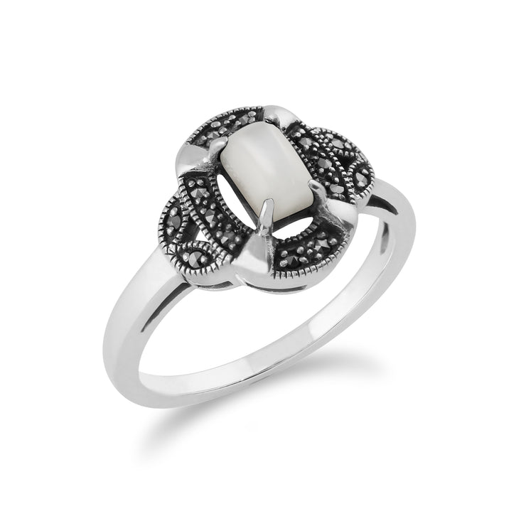 Gemondo 925 Sterling Silver 0.50ct Mother of Pearl & Marcasite Art Deco Ring Image 2