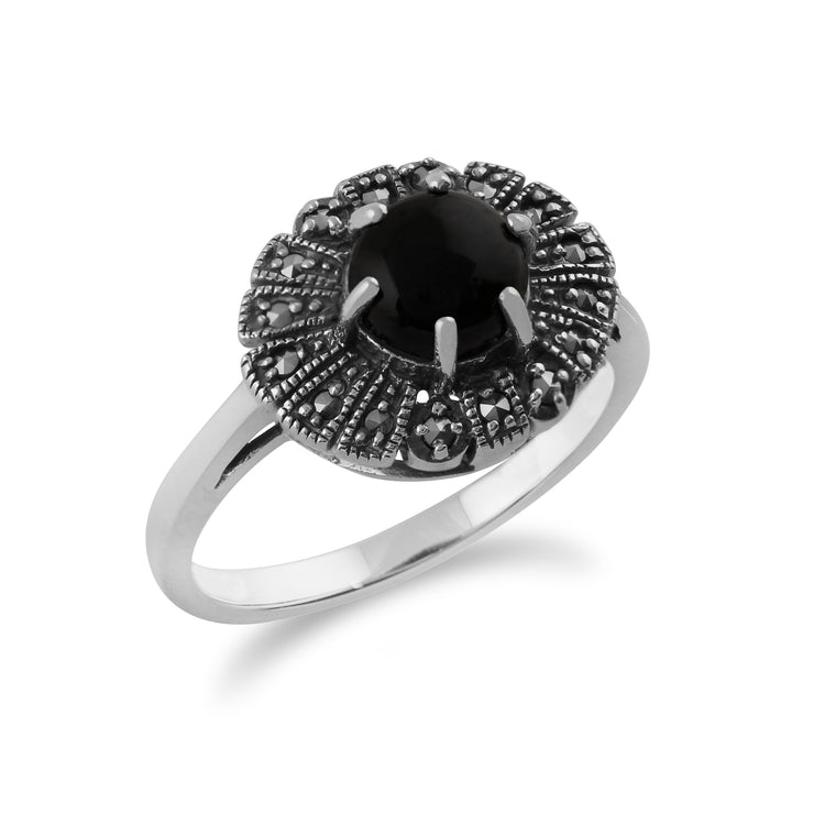 Gemondo 925 Sterling Silver 0.75ct Black Onyx & Marcasite Art Deco Ring Image 2