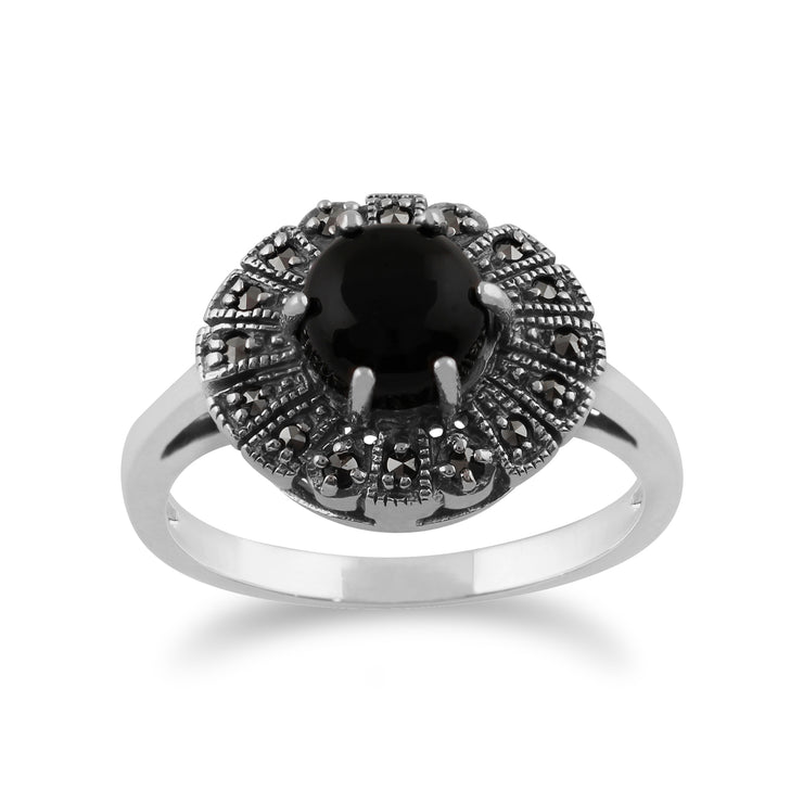Gemondo 925 Sterling Silver 0.75ct Black Onyx & Marcasite Art Deco Ring Image 1
