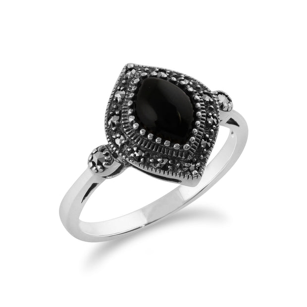 Gemondo 925 Sterling Silver 1.00ct Black Onyx & Marcasite Art Deco Ring Image 2