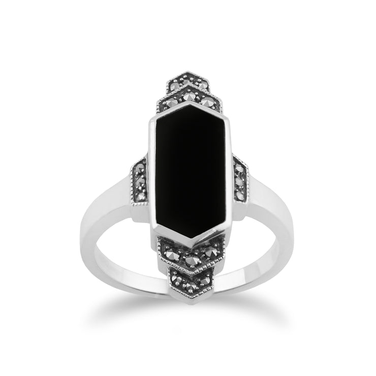 Art Deco Style Hexagon Black Onyx & Marcasite Bar Ring in 925 Sterling Silver