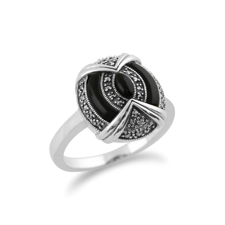 Gemondo 925 Sterling Silver Art Deco Black Onyx & Marcasite Ring Image 2