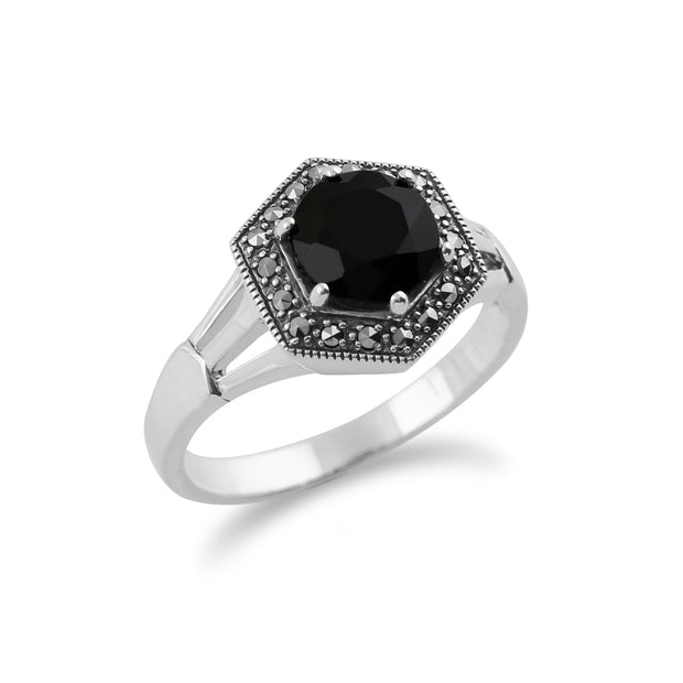 Gemondo 925 Sterling Silver Art Deco Black Spinel & Marcasite Ring Image 2
