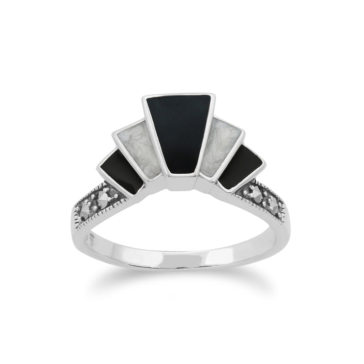 Art Deco Style Marcasite & Black and White Enamel Gradient Fan Ring in 925 Sterling Silver