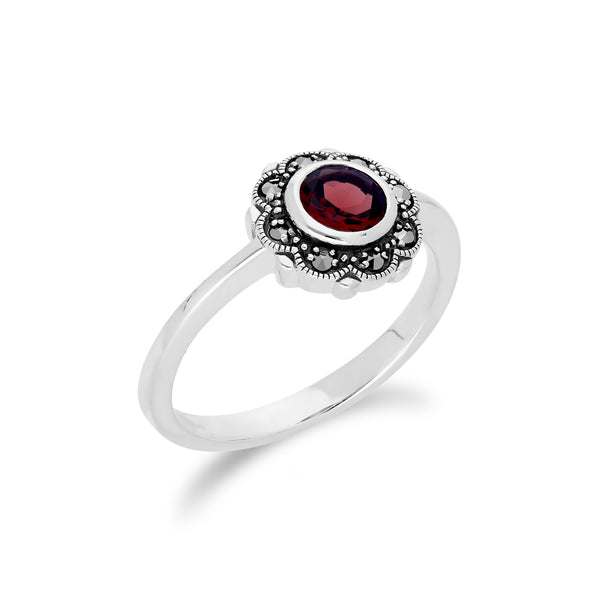Floral Round Garnet & Marcasite Halo Ring in 925 Sterling Silver