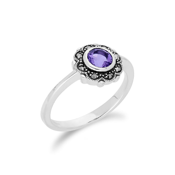 Floral Round Amethyst & Marcasite Halo Ring in 925 Sterling Silver