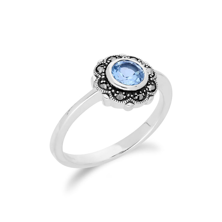 Floral Round Blue Topaz & Marcasite Halo Ring in 925 Sterling Silver