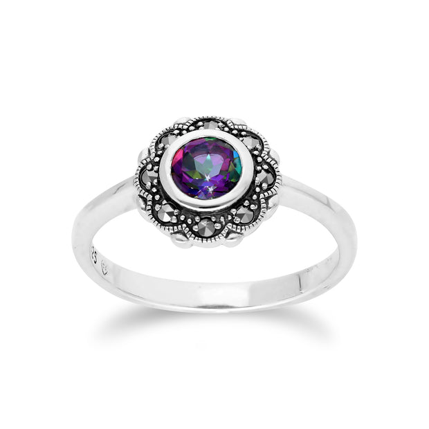 Floral Round Mystic Topaz & Marcasite Halo Ring in 925 Sterling Silver