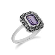 Art Nouveau Style Octagon Amethyst & Marcasite Border Ring in 925 Sterling Silver