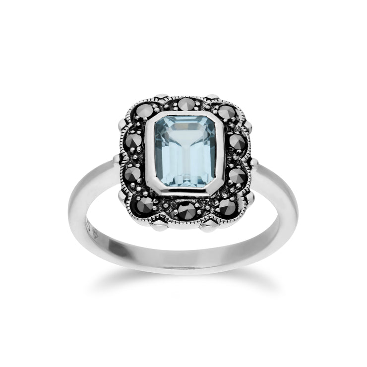 Art Nouveau Style Octagon Blue Topaz & Marcasite Border Ring in 925 Sterling Silver