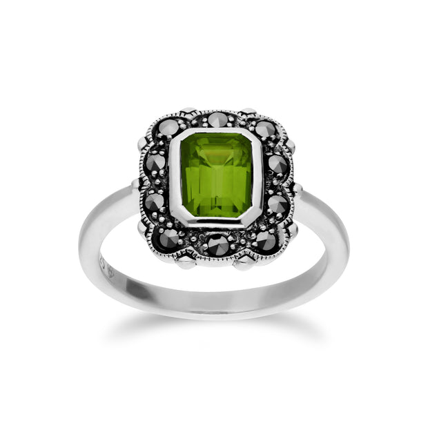 Art Nouveau Style Octagon Peridot & Marcasite Border Ring in 925 Sterling Silver