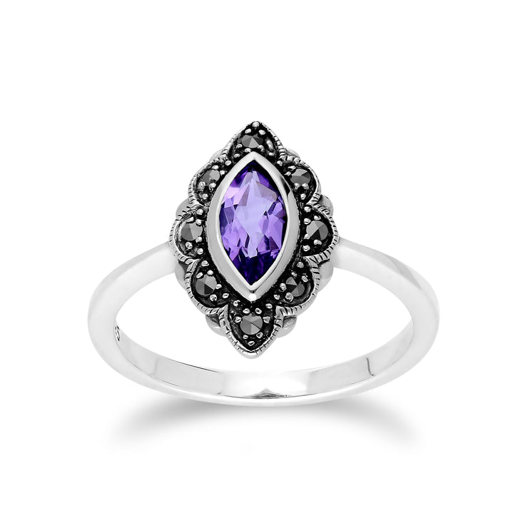 Art Nouveau Marquise Amethyst & Marcasite Leaf Ring in 925 Sterling Silver